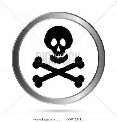 Jolly Roger Flag Button.