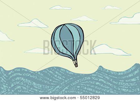 Hot air balloon over the sea