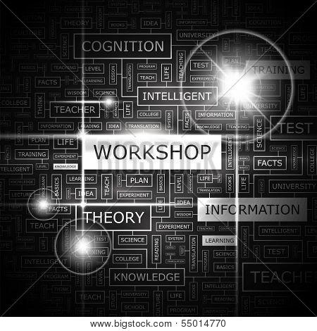 WORKSHOP. Background concept word cloud illustration. Print concept word cloud. Graphic collage. Vector illustration.