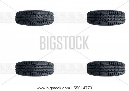 Car new tires alignment isolated on white background