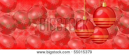 Christmas Background Red Baubles On Panorama Banner