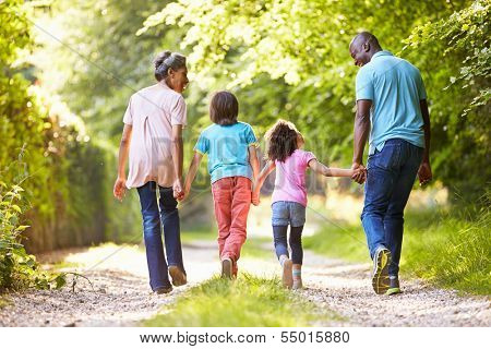 Grandparents With Grandchildren Walking Through Countryside