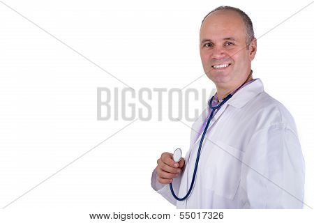 Middle Aged Practitioner Doctor Looking At You Trustfully