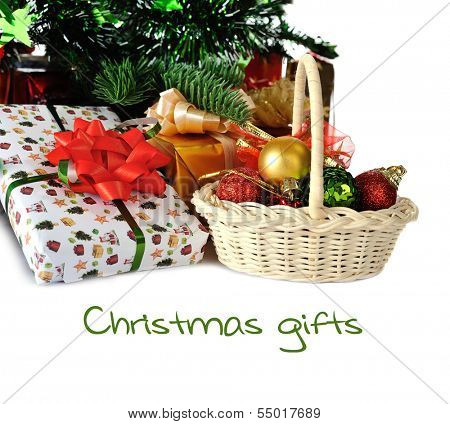 gifts under Christmas tree, isolated on white