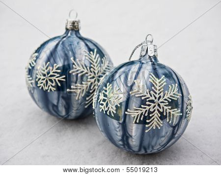 Christmas Decoration Balls In Snow