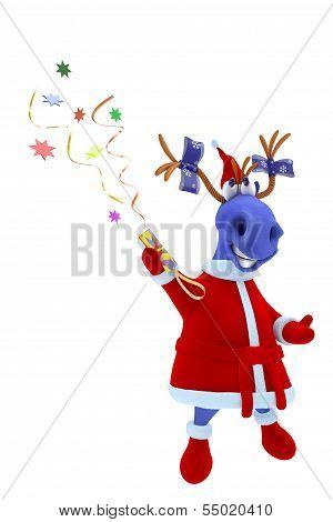 Blue Horse Shoots A Slapstick With A Confetti