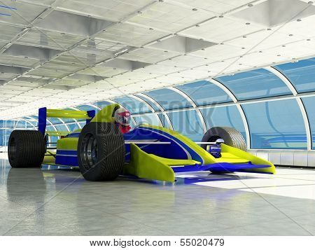 Racing cars  in a glass tunnels.