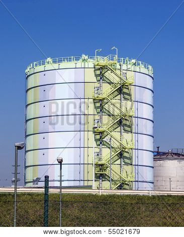 FRANKFURT, GERMANY - JAN 9, 2011: silo in Industry Park in beautiful landscape near Frankfurt