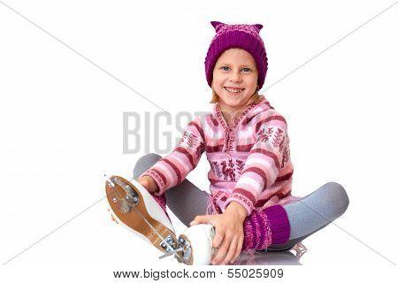 Child Leaning Ice Skating