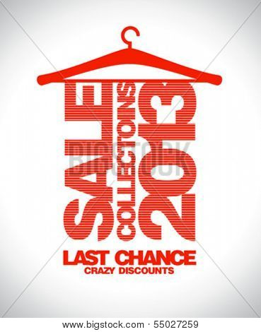 Sale collections 2013 design template with clothes hanger.