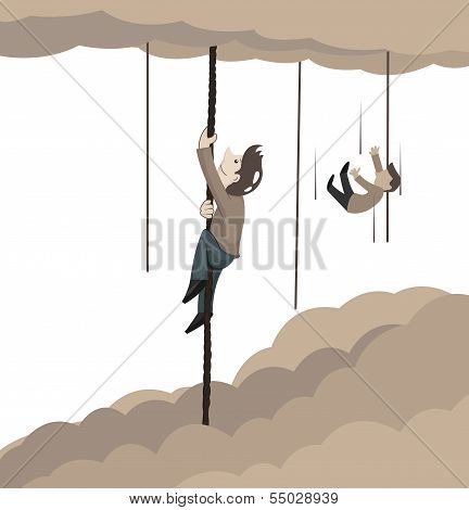 Concept Of Man Climbing Rope To Sky