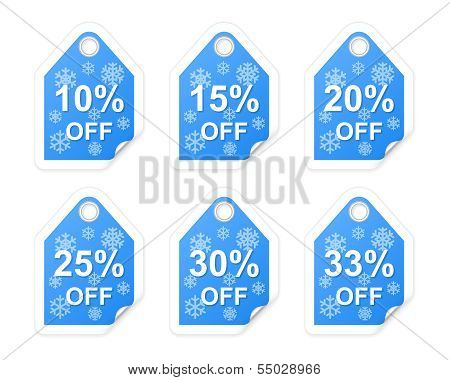 Winter Sale Tags. Part One. Vector Illustration