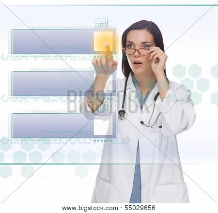 Young Doctor or Nurse Pushing Blank Button on Futuristic Translucent Panel - Ready For Your Own Copy.