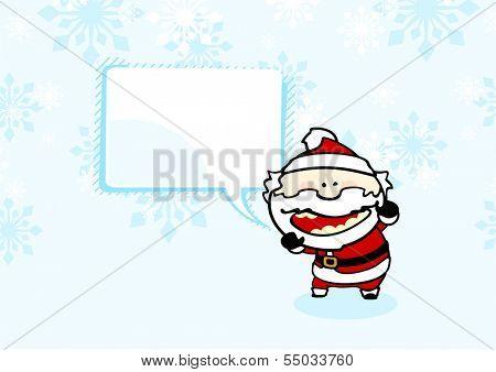 Christmas card with bad Santa under a snowfall