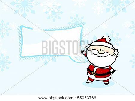 Santa Claus under a snowfall