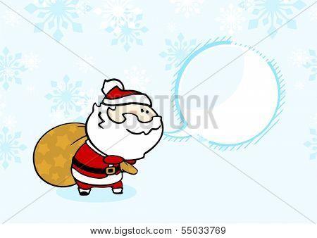 Santa with a sack of presents under a snowfall