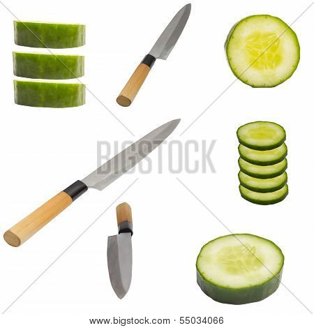 Knief With Sliced Cucumber Isolated On White Background