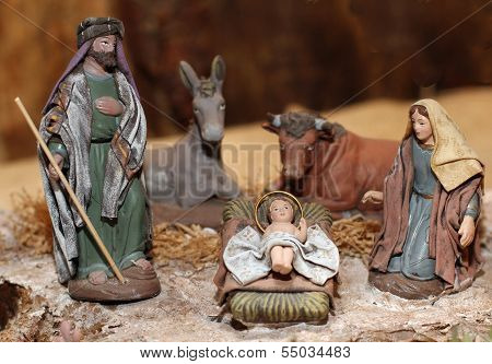Nativity Scene With Jesus, Joseph And Mary In A Manger On Christmas 3