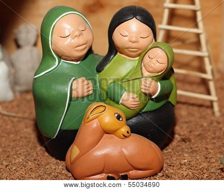 Holy Family In South American Version With A Llama