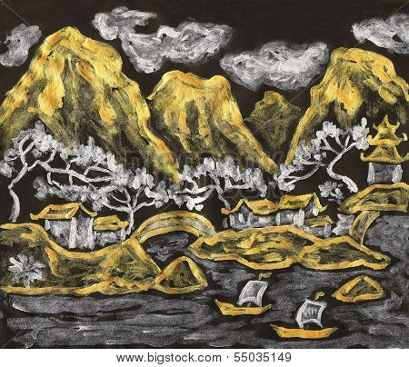 Chinese Landscape In Golden And Silver, Painting