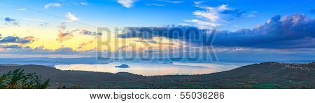 Bolsena Lake Aerial Panoramic View From Montefiascone, Italy.