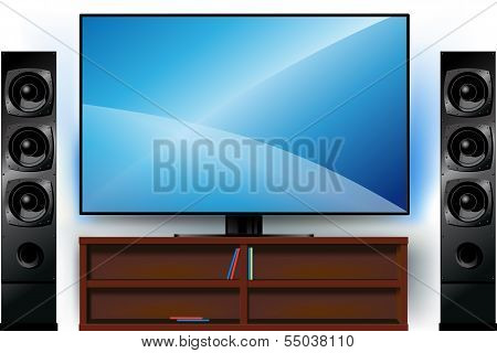 TV on a stand and home theater