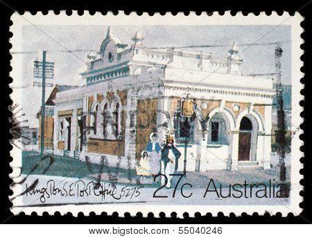 AUSTRALIA - CIRCA 1982: A Stamp printed in AUSTRALIA shows the Historic Australian Post Offices, Kingston Southeast, series, circa 1982