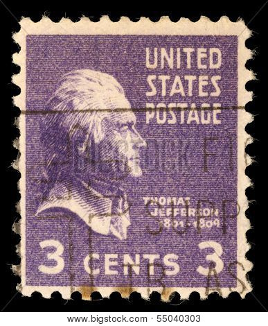 USA - CIRCA 1938: Postage stamp printed in the USA, a portrait 3th President of the United States, Thomas Jefferson, circa 1938