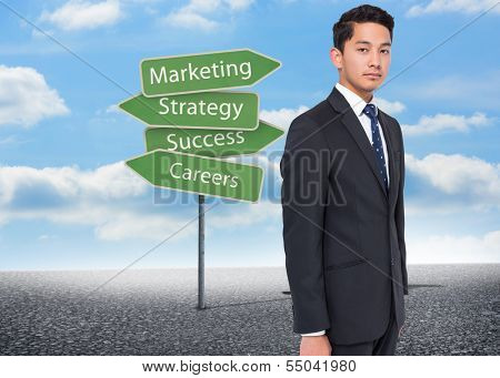 Composite image of illustration of signposts with marketing terms with bright blue sky