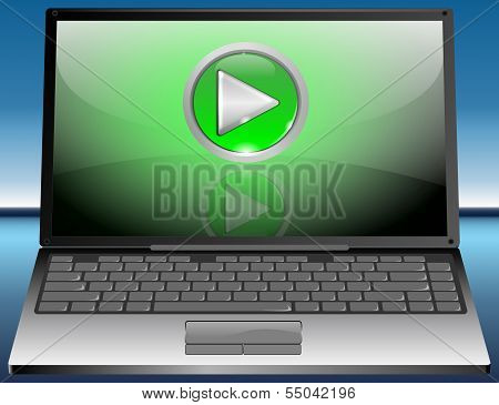 Laptop with Play Button