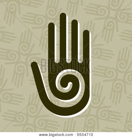 Hand With Spiral Symbol