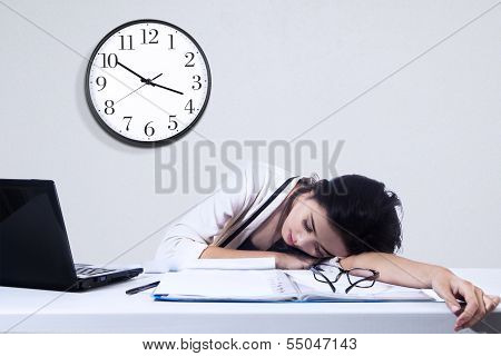 Businesswoman Sleeping With Laptop