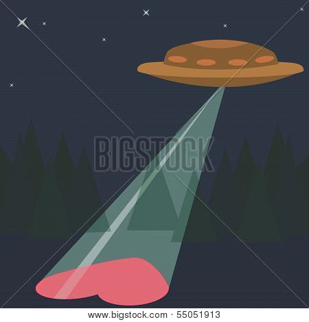 Love Heart with UFO aliens Valentines day Greeting card Design trendy colors Romantic relationship c