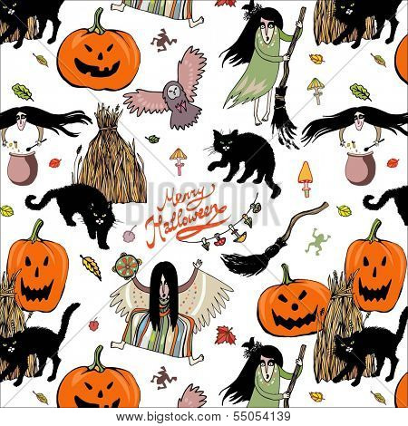 halloween colorful pattern on the white background with brooms, cats, pumpkins, haystacks, owls and witches