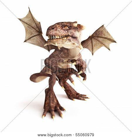 Dragon posing in a fierce position