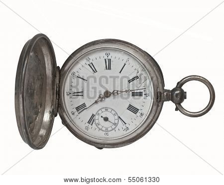 vintage silver pocket watch over white