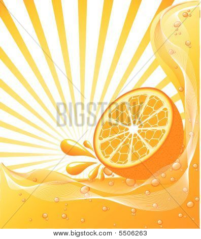 Beautiful Orange Background With A Sun. Vector Illustration