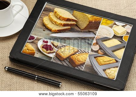 baking gluten free coconut flour bread - a sequence of pictures on a digital tablet, all pictures copyright by the photographer