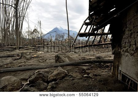 Village Destroyed by Pyroclastic at Devastated Area