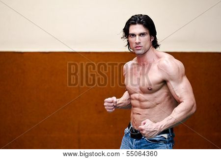 Attractive Shirtless Muscular Man Indoors