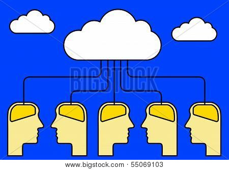 Brains Connected To Cloud