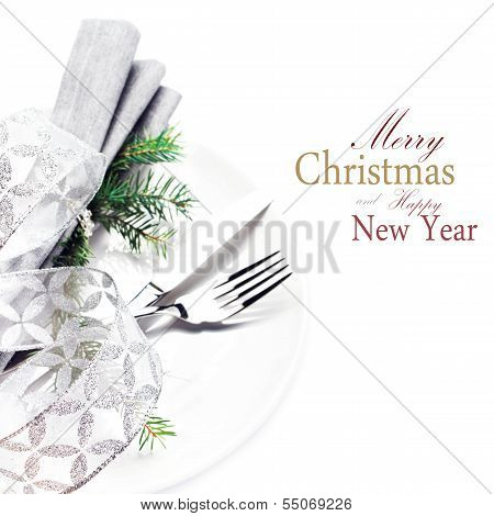 Elegant Christmas Table Setting Place With Festive Ornaments On White Plate Isolated. Shiny Golden C