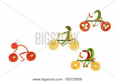 Healthy Eating. Five Little Funny Peppers On Bicycles.