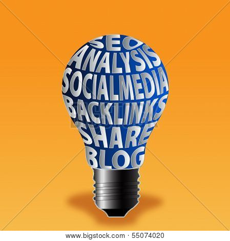 Bulb Of Seo Analysis Social Media Backlinks Share Blog