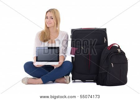 Attractive Blondie Woman With Suitcase And Laptop Sitting Isolated On White