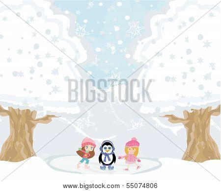 Girls On Skates And Sweet Penguin