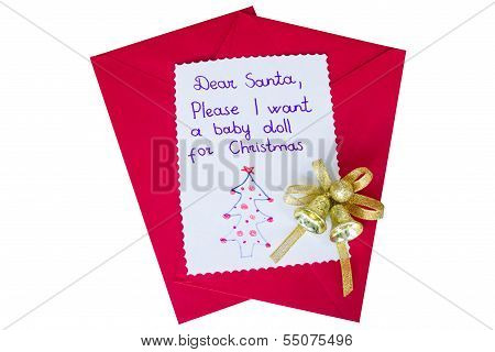 Letter To Santa Isolated On White