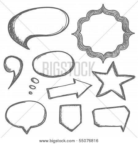 Vector hand drawn speech bubbles