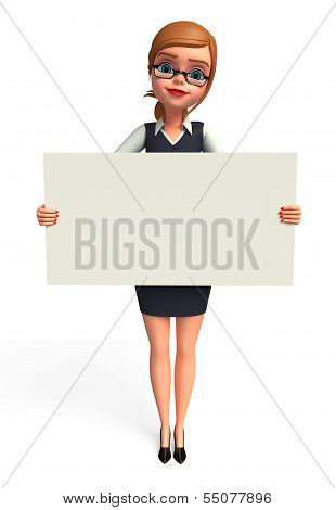 Young Business woman with sign
