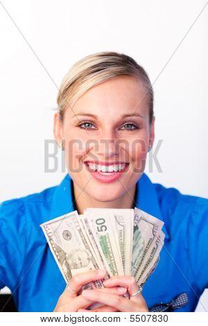 Businesswoman Holding Money In Her Hands